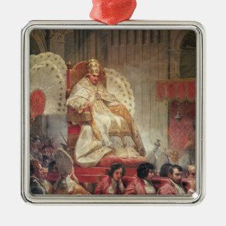 Papa VIII en San Pedro en el Sedia Gestatoria Adorno Cuadrado Plateado