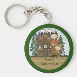 Papá y muchacho rústicos de la caza de la casa de llavero redondo tipo pin
