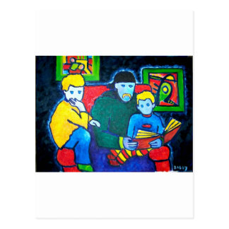 Papá y muchachos postales