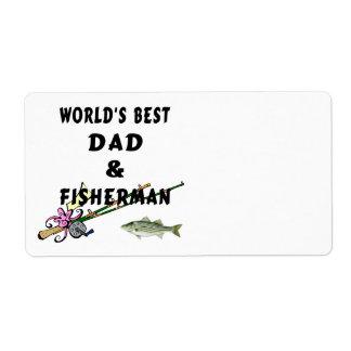 Papá y pescador etiqueta de envío
