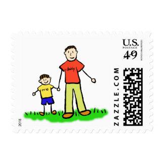 Papá y yo sello de Little Boy (Brunette)