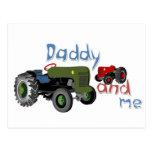 Papá y yo tractores postal