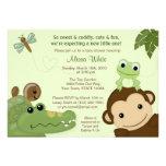 Papagayo Baby Shower Invitation monkey frog turtle