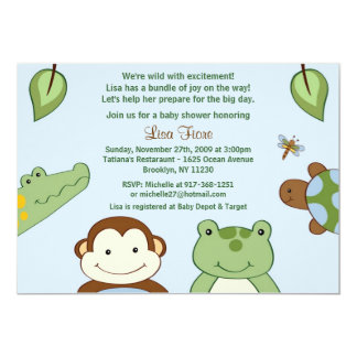 Papagayo Monkey Jungle Baby Shower Invitations