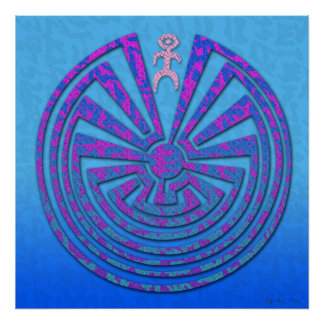 Papago Maze Blue and Purple Poster