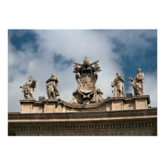 Papal arms, roof of St Peter's, Vatican Poster
