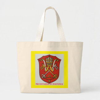 PAPAL TRADITIONAL ROMAN CATHOLIC COAT OF ARMS POPE LARGE TOTE BAG