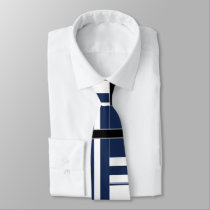 Papa's Blue and White Abstract Neck Tie