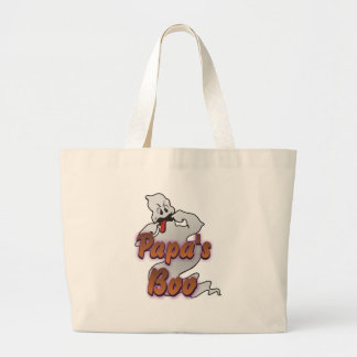 Papa's Boo Halloween Ghost Large Tote Bag