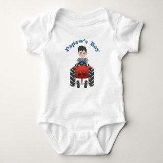 Papas Boy Tractor Baby Bodysuit