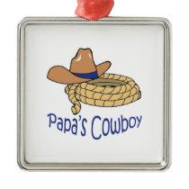 Papas Cowboys Metal Ornament