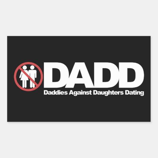 Papás de DADD contra fechar de las hijas Pegatina Rectangular