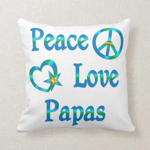 Papás del amor de la paz cojín