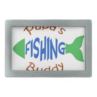 Papas Fishing Buddy Rectangular Belt Buckle