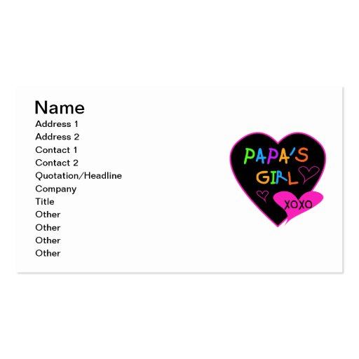 Papa's Girl Tees, Hats, Mugs, Buttons, clothing Double-Sided Standard Business Cards (Pack Of 100)