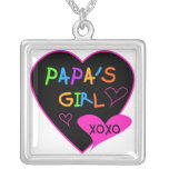 Papa's Girl Tees, Hats, Mugs, Buttons, clothing Square Pendant Necklace