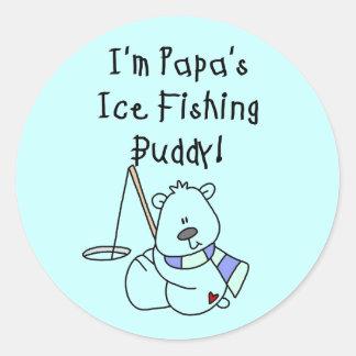 Papa's Ice Fishing Buddy Tshirts and Gifts Classic Round Sticker