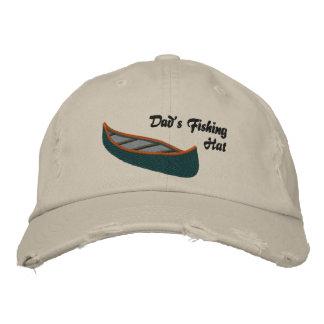 Papás que pescan el gorra con la canoa gorras bordadas