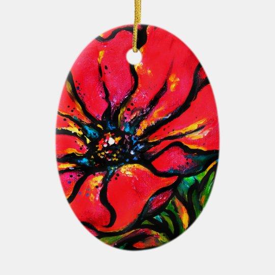 Papaver rojo adorno navideño ovalado de cerámica