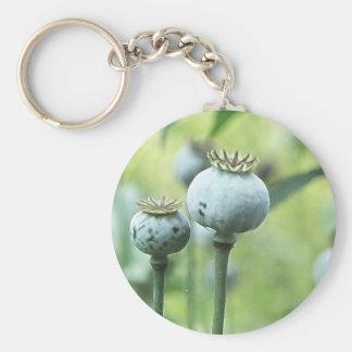 Papaver Somniferum Seed Heads Basic Round Button Keychain