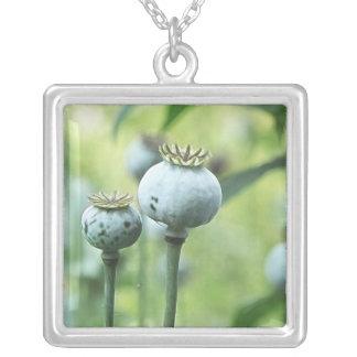 Papaver Somniferum Seed Heads Square Pendant Necklace