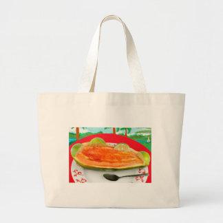 Papaya con la cal con la pintura tropical de la vi bolsa