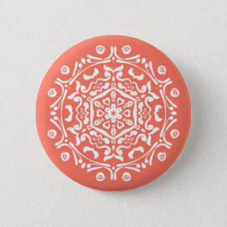 Papaya Mandala Pinback Button