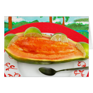 Papaya with Lime with Tropical View Painting Card