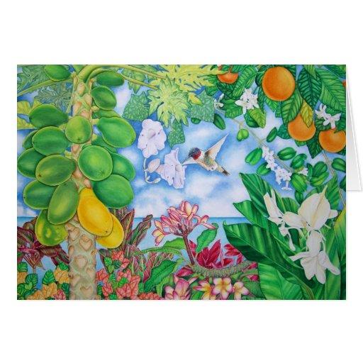 Papayas con el colibrí tarjeta de felicitación