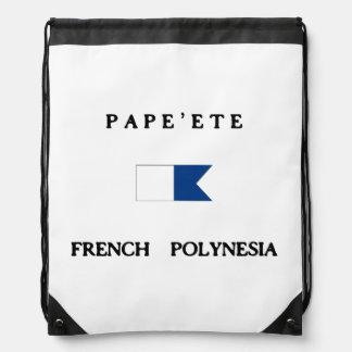 Pape'ete French Polynesia Alpha Dive Flag Drawstring Bag