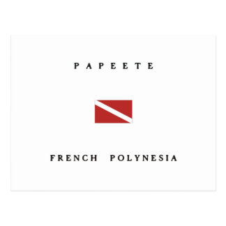 Papeete French Polynesia Scuba Dive Flag Postcard
