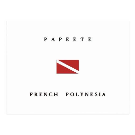Papeete French Polynesia Scuba Dive Flag Postcard