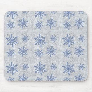 Papel 1 del copo de nieve - azul y blanco original tapetes de ratón