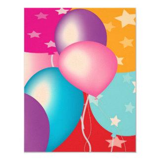 """Papel 4,25"""" del fieltro x 5,5"""" el fiesta Baloons Invitación 4.25"""" X 5.5"""""""