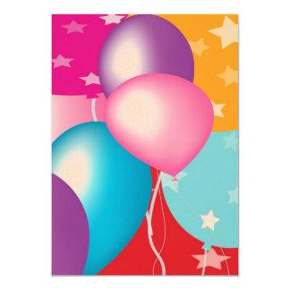 """Papel 5"""" del fieltro x 7"""" Baloons en V2 delantero Invitación 5"""" X 7"""""""