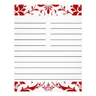 Papel a juego personalizado damasco rojo de la rec tarjetas publicitarias