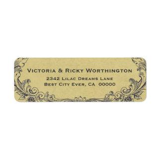 Papel adornado del boda del fondo del oro del marc etiquetas de remite