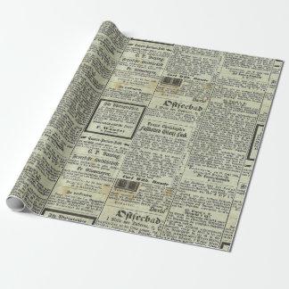 Papel alemán del regalo del periódico del vintage papel de regalo