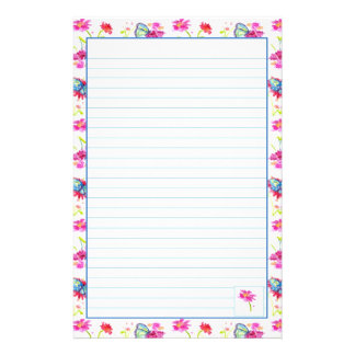 Papel alineado flor azul de los efectos de escrito papelería de diseño
