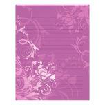 papel alineado rosado bonito del diseño floral del plantillas de membrete