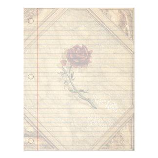 Papel antiguo del cuaderno del vintage de los rosa membrete personalizado