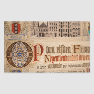 Papel antiguo del vintage del certificado 1873 pegatina rectangular
