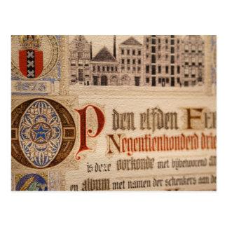 Papel antiguo del vintage del certificado 1873 tarjeta postal