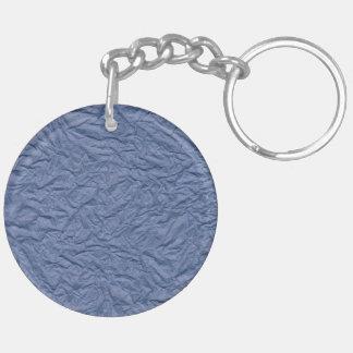 Papel arrugado azul marino llavero redondo acrílico a doble cara