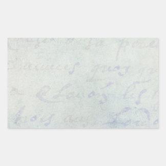 Papel azul de la antigüedad francesa de las letras rectangular pegatinas