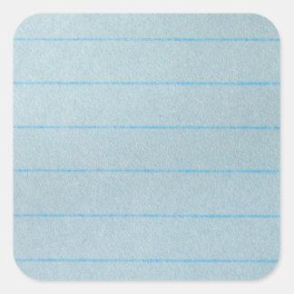 Papel azul del cuaderno pegatina cuadrada