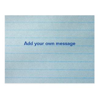 Papel azul del cuaderno postales