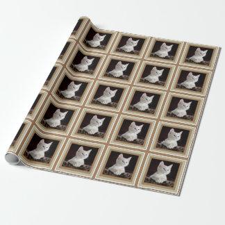 Papel blanco de la plantilla de la foto del gatito papel de regalo
