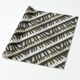 Papel blanco y negro de los teclados papel de regalo