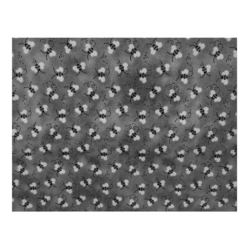 Papel blanco y negro de Scrapbooking de las abejas Membrete Personalizado